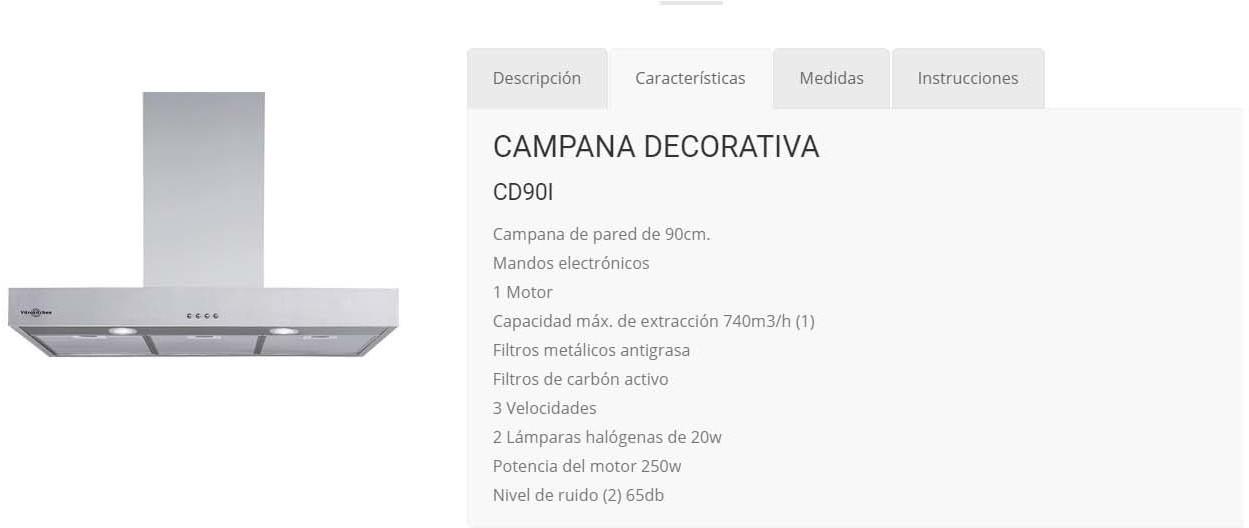 Campana Vitrokitchen CD90I Decorativa 90cm Inox