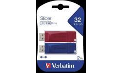 MEMORIAS USB 32 GB VERBATIM SLIDER USB 2.0 2 X 32GB (R/B)