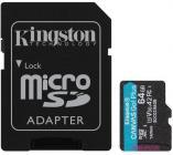 Tarjeta de memoria Micro SD KINGSTON 64GB MICROSD CANVAS GO PLUS + AD